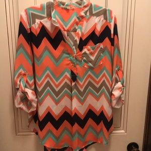 High-low 3/4 sleeve blouse